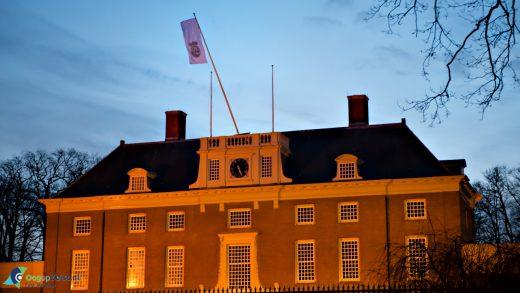 Stormschade aan de vlaggenmast van het Slot Zeist
